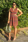 Maroon-tribal-thrifted-vintage-dress-thrifted-vintage-belt