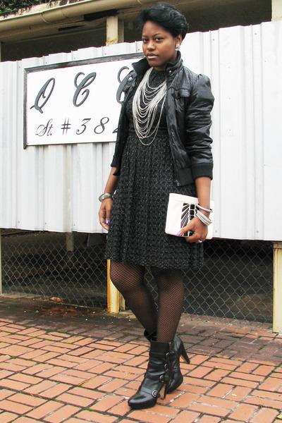 black sparkle thrifted vintage dress - black jacket