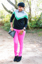 tri color Forever 21 sweater - hot pink H&M Trend jeans