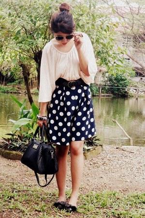 light pink blouse - black bag - navy shorts - black flats