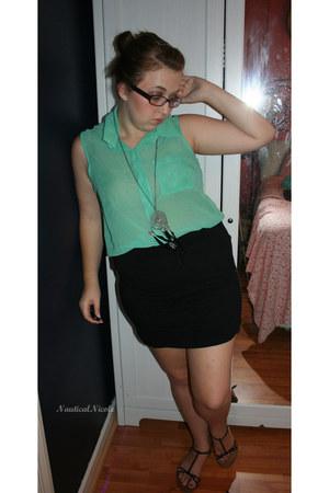 sheer blouse - black skirt - silver dreamcatcher necklace