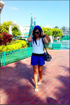 blue shorts - silver shoes - white t-shirt - gray coach purse - black necklace -