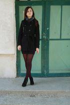 black coat - black skirt - - black boots