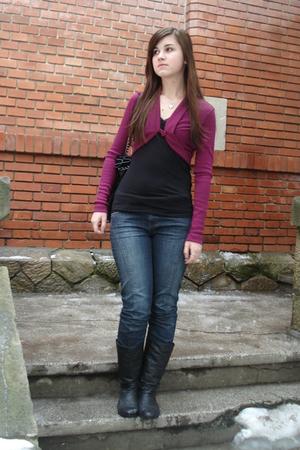 purple unknown cardigan - black New Yorker top - black Orsay jeans - black unkno