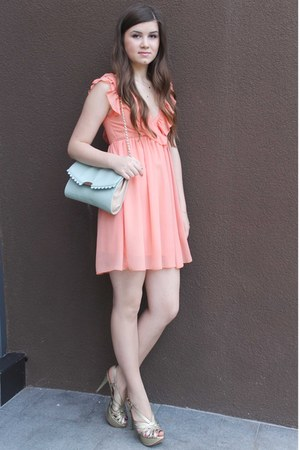 coral dress - light blue Accessorize purse - gold Zara sandals