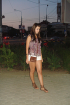 Tina R blouse - kenvelo shorts - vintage purse - B&B shoes - unknown bracelet -