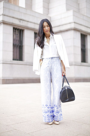light blue Style Stalker pants - white Zara blazer - black Marcs bag