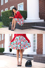 Red-floral-vintage-skirt-black-christian-louboutin-heels-red-marcs-jumper