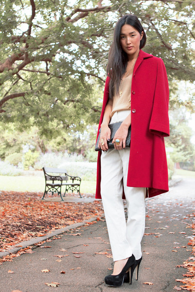 black Topshop heels - ruby red gary pepper vintage coat
