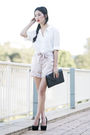 White-thrifted-top-pink-see-by-chloe-shorts-black-topshop-shoes-black-vint