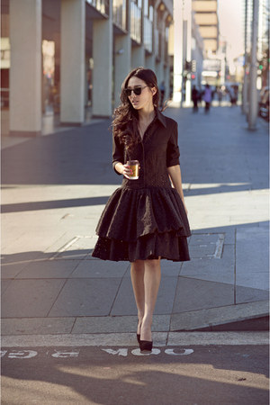 black collette dinnigan dress - black Karen Walker sunglasses