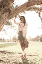 white vintage jacket - brown Jeffrey Campbell shoes