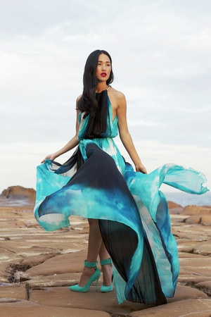 blue Just Cavalli dress - aquamarine Siren for Jennifer Hawkins heels