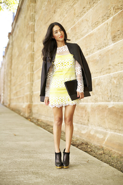yellow Sass and Bide dress - black Charlotte Olympia boots
