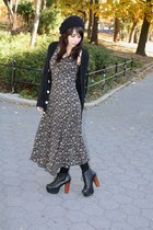 light brown vintage dress - black American Apparel cardigan - black Jeffrey Camp
