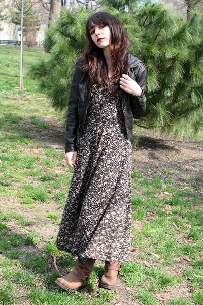 brown Target boots - neutral vintage dress - black H&M jacket