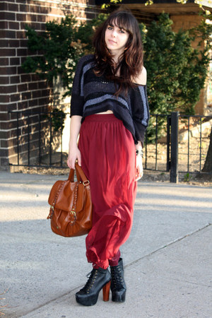 maroon American Apparel skirt - tawny H&amp;M bag - navy free people blouse