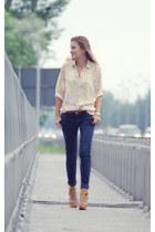 cream shirt shirt - navy pants pants - mustard Shoes heels