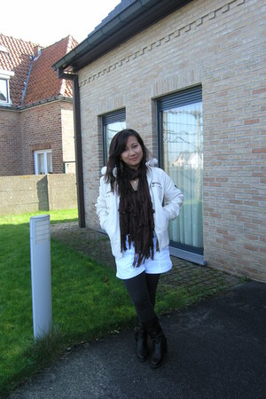 white jacket - brown bell & co scarf - white H&M shorts