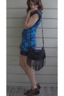 Dark-brown-thrifted-boots-blue-express-dress-black-h-m-bag
