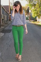 green abercrombie and fitch jeans - green gingham Gilly Hicks shirt