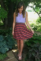 red J Crew skirt - light purple Forever 21 top - white Forever 21 sandals