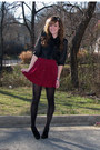 Black-wal-mart-tights-brick-red-forever-21-skirt