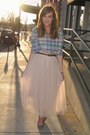 Light-blue-plaid-forever-21-shirt-ivory-tulle-savoir-faire-skirt