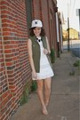 White-j-crew-dress-white-j-crew-hat-army-green-h-m-vest