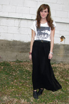 black Forever21 skirt - black thrifted boots - white Billabong top