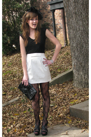 Vanity top - Forever21 accessories - Forever21 skirt - stockings - Goodwill purs