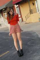 burnt orange vintage romper - black litas Jeffrey Campbell heels