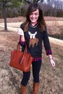 Light-brown-the-buckle-boots-dark-gray-j-crew-sweater-red-plaid-j-crew-shirt