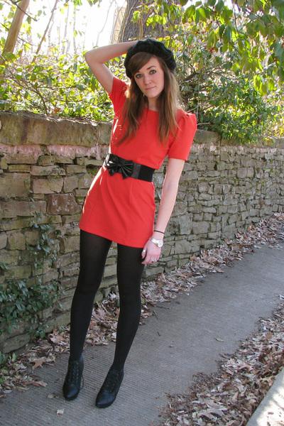 black hat - black on sale Forever21 shoes - orange Forever21 dress