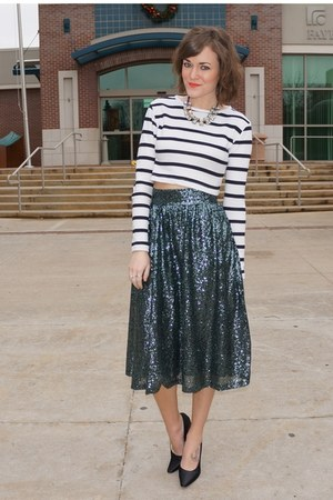 white Forever 21 top - black vintage PRADA heels - teal asos skirt