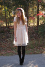 Cream-forever21-dress-black-wal-mart-tights