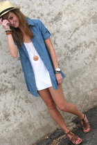 blue Forever21 shirt - brown wal-mart shoes - white Target dress