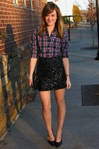 black vintage Prada heels - crimson plaid abercrombie and fitch shirt
