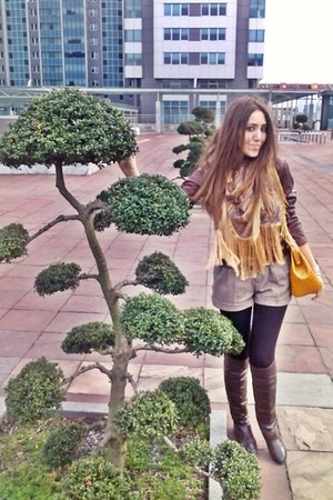 brown boots - leather Bershka jacket - yellow frange Mango scarf - yellow chain