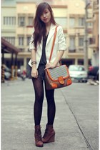 brown boots - dark gray dress - white zara blazer - black leopard print tights -