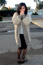 gray Forever21 sweater - black BDG skirt - black Urban Outfitters tights - beige