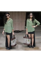 black Zara skirt - sheer green Kenneth Cole shirt - Michael Kors bag