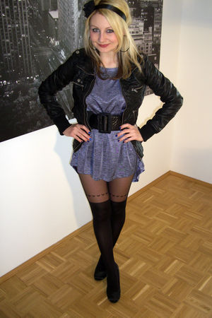black Bershka jacket - silver H&M dress - black Topshop tights - black Forever 2
