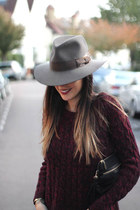 heather gray felt fedora hat akubra hat - crimson mulberry jeans SANDRO jeans