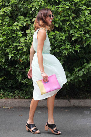 lime green asos dress - bubble gum asos bag - black Funkis clogs