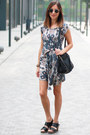 Navy-printed-dress-thrifted-dress-black-leather-bag-handmade-bag