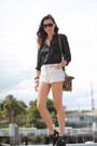 Black-zara-blouse-white-denim-cut-offs-vintage-shorts