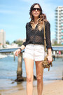 Black-zara-blouse-white-denim-cut-offs-vintage-shorts