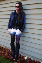 navy denim shorts - black rubber COUGAR boots - leather jacket