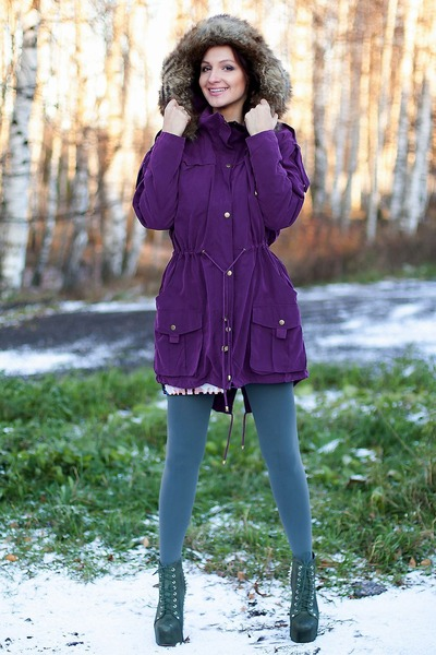 purple parka oversized asos coat - army green lita spike Jeffrey Campbell boots